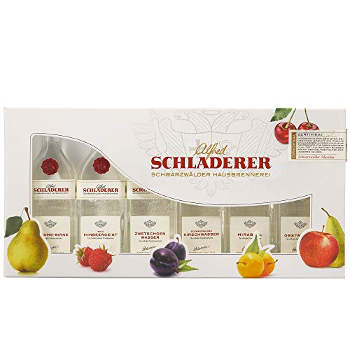 Schladerer Obstbrand Geschenk Probier-Set - edle Obstbrände aus dem Schwarzwald im Mini Tasting Set Mix mit 6 verschiedenen Obstbrand Klassikern - ideal zum Verschenken (6 x 0,03l)