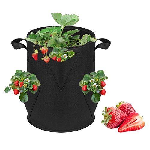 Bolsa de siembra de Fresas, Bolsa de Cultivo de Fresas con Asas Bolsa de siembra no Tejida Bolsas de siembra de Fresas para Tomates Ajo Cebollas Frijoles