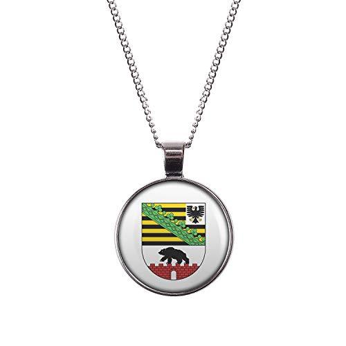 Mylery Hals-Kette mit Motiv Bundes-Land Flagge Sachsen-Anhalt Silber 28mm