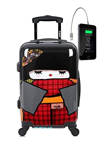 Maleta de cabina TOKYOTO LUGGAGE Maleta de viaje Rígida JAPAN DOLL (Preparada para cargar Móviles) (MALETA + CARGADOR)