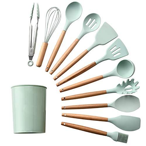 RYDZTMZ 12-Piece Silicone Kitchen Utensils with Wooden Handle, Spatula Kitchen Cookware