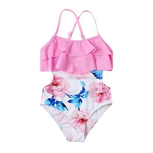 Niños Niñas Traje de baño con Honda Estampado de Flores Bikini de una Pieza Traje de baño con Volantes para Padres e Hijos