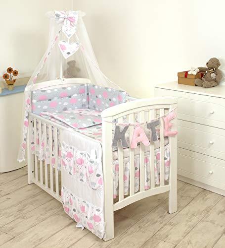 PRO COSMO 11 Piezas juego de ropa de cama para cuna de bebé cama edredón, dosel + soporte (120x60cm, Nuages Roses)