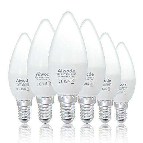 Aiwode E14 LED Lampe Kerzenleuchten,5.5W 470LM Glühbirne Ersetz 40W Warmweiß 2700K,C37 Leuchtmittel Ra80 180° Abstrahlwinkel,6er Pack.