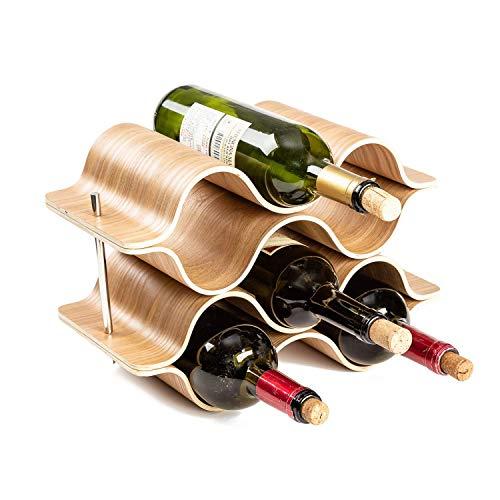 JKLJKL Wijnrek Golf, 6 flessen wijn, houten wijnrek, minimale componentenbehoeften, geschikt voor bars, wijnkasten, kelders, voedselkasten, enz.