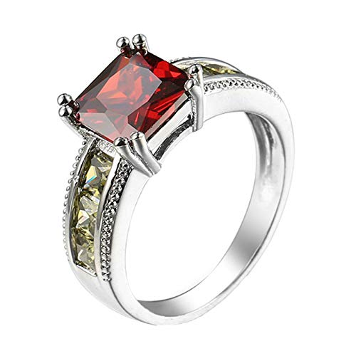 Adokiss Jewellery Silver Plated Rings Women, Shiny Square Cut Red Cubic Zirconia Engagement Ring for Wife SizeL 1/2, for Your Wife/Mother
