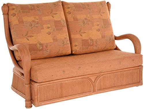 korb.outlet Edles Wohnzimmer Schlafsofa Prince Rattan-Sofa mit Schlaffunktion 2-Sitzer Liegesofa Rattansofa (Terracotta)