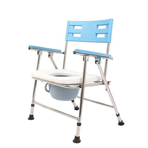 LNDDP Medical Commode Chair Folded Multifunctional Bath Chair with Toilet Paper Holder Rack 3 Gear Height Adjustable Easy to Use
