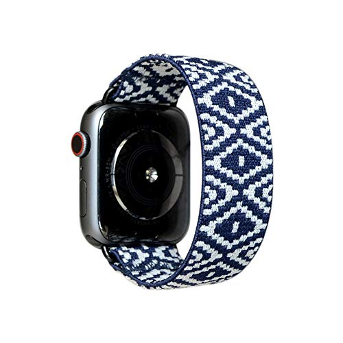 Tefeca Elastic Compatible/Replacement Band for Apple Watch (Blue Diamond, XL fits Wrist Size : 7.5-8.0 inch, 38/40mm)