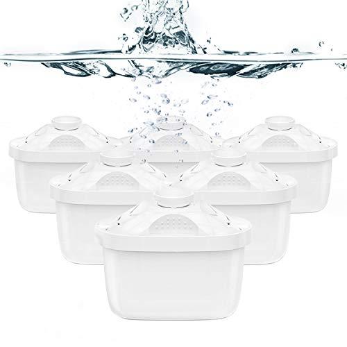 Aoozi - Cartucce filtranti per acqua compatibili con Brita Maxtra +, laica biflux,amazon basics,per brocche Brita,acqua, aiuta a ridurre il calcare e il cloro, confezione da 6