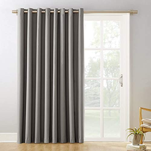 """Sun Zero 53482 Easton Extra-Wide Blackout Sliding Patio Door Curtain Panel with Pull Wand, 100"""" x 84"""", Gray"""