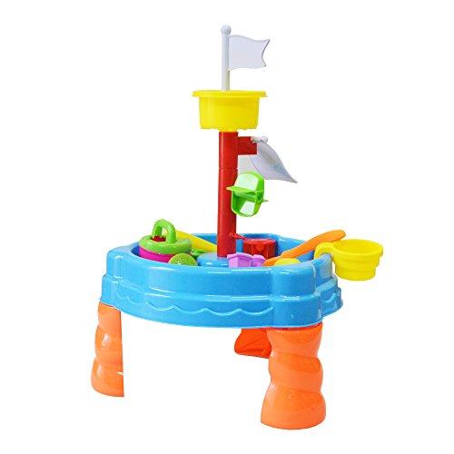 DRULINE Spieltisch Matschtisch Spielinsel Sand Sandkasten Buddelkasten Sand & Wasse Spielzeug Sandspieltisch Wasserspieltisch Zubehör 2IN1inkl.Kinder Sandspielzeug ab 3 Jahren 59x38x38 cm Blau/orange/bunt (22TLG)