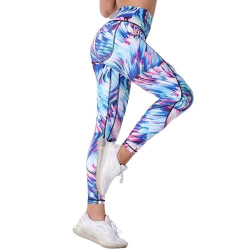 QTJY Pantalones de Yoga con Estampado de Leopardo Mujer Pantalones de chándal con Estampado de Leopardo de Cintura Alta melocotón Hip Estampado de Leopardo Gimnasio Medias Coloridas A M