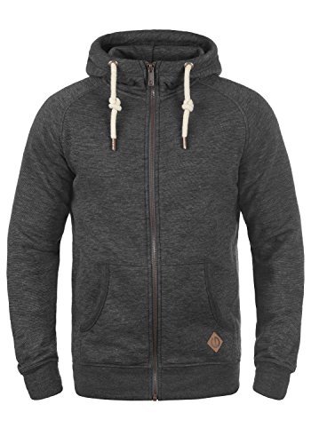 !Solid Vitu Herren Sweatjacke Kapuzenjacke Hoodie Mit Kapuze Und Reißverschluss Aus 100% Baumwolle, Größe:L, Farbe:Med Grey (8254)