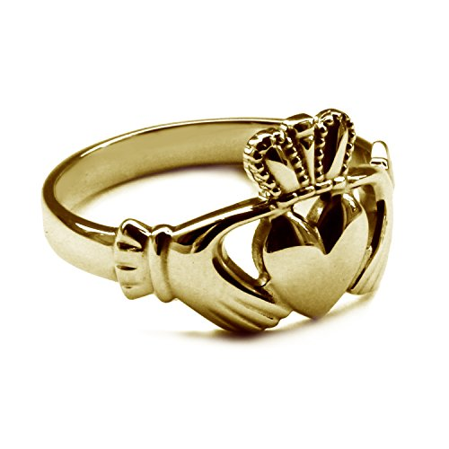 9ct Yellow Gold Claddagh Ring 13.5mm Heavy Solid Gents Irish Made Size X