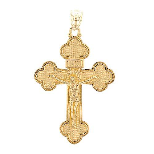 9 Karat Gelbgold Eastern Orthodox Kruzifix Kreuz Damen Anhänger