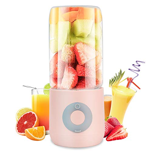 Pequeña Licuadora de Frutas con Exprimidor Recargable Máquina de Mezcla de Frutas 400ml, Six Blades, Rosado