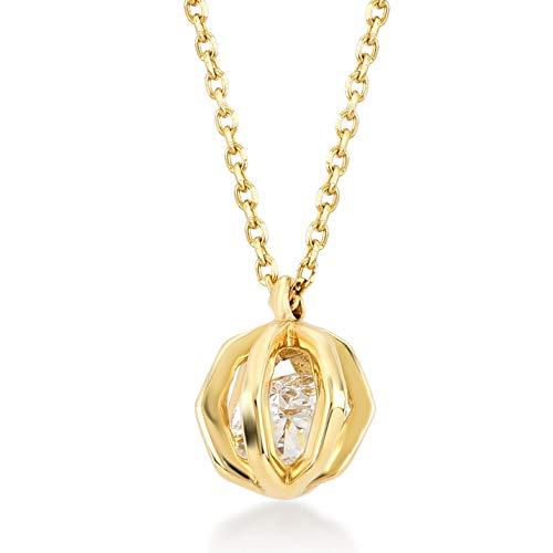 Gelin Gold Damen Halskette aus 14 Karat - 585 Echt Gelbgold Kette mit Anhänger - mit Tropfenform und Zirkonia, Geschenk für Geburtstag Valentinstag - Kette 45 cm