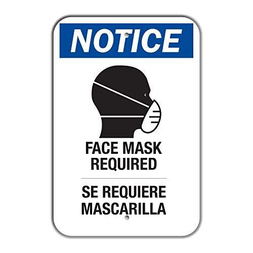 "SmartSign - LCUV-0650-NA_18x24 ""Notice - Face Mask Required"" Bilingual Sign   18' x 24' Aluminum 18' x 24' Non-Reflective Aluminum"