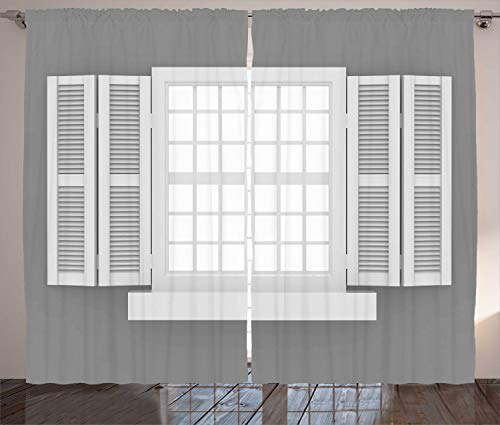Ambesonne Country Curtains, Graphic Illustration of Wooden Window Shutters Traditional Style Antique Bohemian, Living Room Bedroom Window Drapes 2 Panel Set, 108