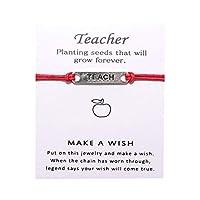 Idiytip ウィッシングカードブレスレットブレスレットの合金を教える教師への最高の贈り物ウィッシングブレスレットジュエリー,赤