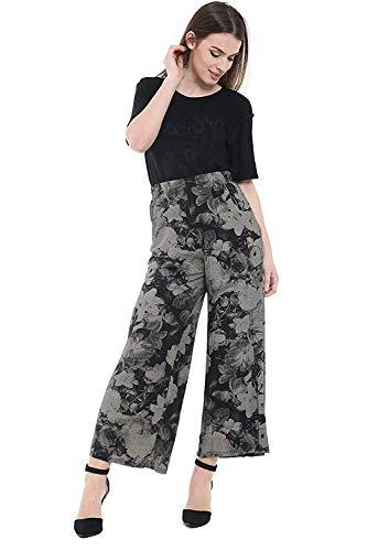 WearAll Damen Palazzohose mit weitem Bein, ausgestellt, elastisch, einfarbig, Übergröße, Größen 42–52 Gr. 42-44, Krawattenfarbe Blumenmuster