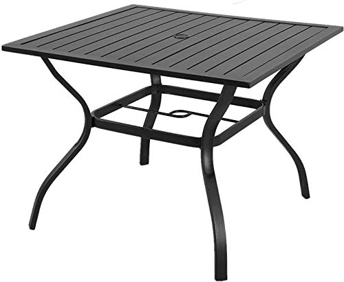 Outdoor Dining Table, Square Patio Furniture Table with Umbrella Hole
