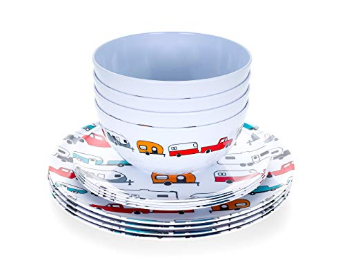 Product Image 1: Camco Life is Better at The Campsite 12 Piece Dishware Set-Multicolor Retro RV and Trailer Print, Includes Plates and Bowls, Perfect for RVing and Camping, Melamine (53297)