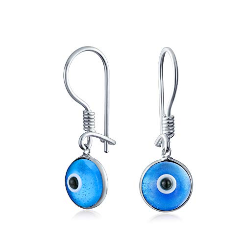 Spiritual Protection Round Blue Nazar Evil Eye Leverback Drop Earrings For Women Teen Murano Glass 925 Sterling Silver Made In Turkey