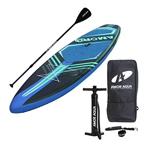 AMOR AQUA Double Layers Inflatable Stand Up Paddle Board 11'x33 x6 ISUP Package(Yellow)