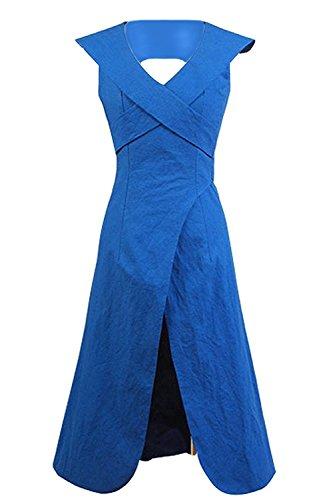 CosDaddy Berühmt Film-Charakter Dänerys Targaryen Dreß Kleid Cosplay Kostüm , Blau, Frau-L