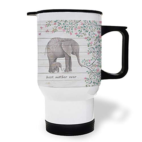 15 OZ Stainless Steel Car Cup with Handle, Elephant and Flowers Best Mama Ever Travel Coffee Mug Cup Heated Thermos for Heating Water, Coffee, Tea Milk, Gift