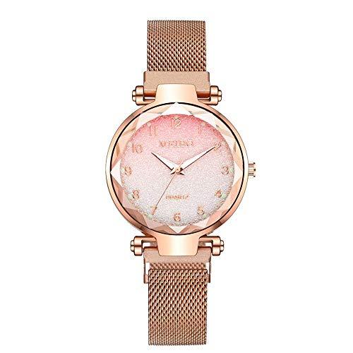 CMXUHUI Chica Reloj Regalo de cumpleaños Regalo del día de Damas imán Hebilla Degradado Color Reloj Mujer Moda Mujer Reloj Regalo Reloj Rosegold