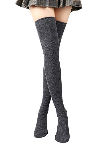 SATINIOR Über Knie Lange Socken Oberschenkel Hohe Socken Zopfmuster Langer Stiefelstrumpf Beinwärmer (Dunkelgrau)
