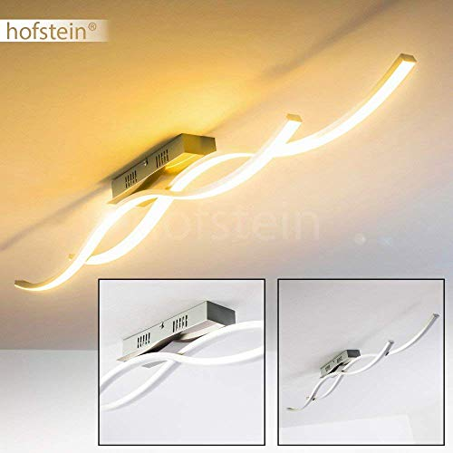 LED plafondlamp Brindisi, langwerpige plafondlamp van metaal in geborsteld staal, 2-vlam met gebogen lichtlijsten, 30 Watt, 1550 Lumen, lichtkleur 3000 Kelvin (warm wit)