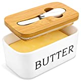 X-Chef Butter Dish with Lid, Ceramic Butter Keeper with Butter Knife, Large Butter Storage Container for Refrigerator Countertop, Hold 2 Standard Butter Sticks, 17oz/500ml, White