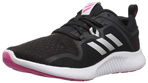adidas Women's Edgebounce Mid Running Shoe, Black/Silver Metallic/Shock Pink, 7 M US