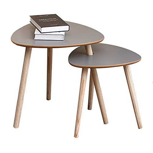 XQKXHZ Modern Nest of Tables, Triangle Side Tables Multi-Functional Small Wood Side Tables for Living Room Home Office, Grey