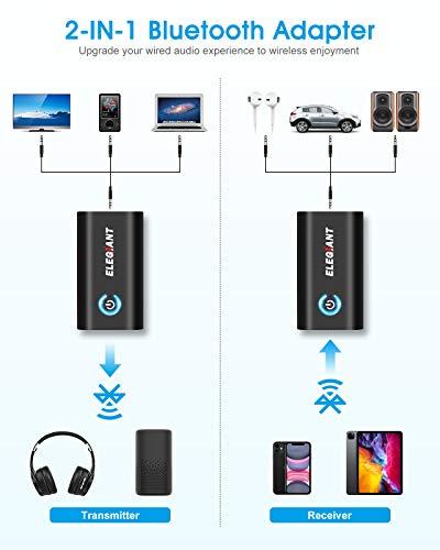 ELEGIANT Transmetteur Bluetooth 5.0 Récepteur et Émetteur 2-en-1 Adaptateur Bluetooth sans Fil Double Connexion Jack 3,5mm APTX Faible Latence pour Casque TV PC Ordinateur Tablette Enceinte Voiture