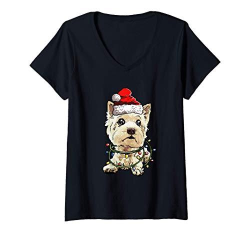 Mujer West Highland Terrier Navidad Regalo X-Mas Amor De Perro Camiseta Cuello V