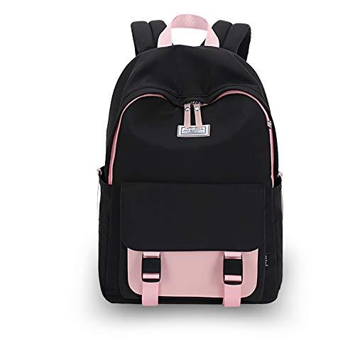 FANDARE Donna Zaino Casual Borsa da Scuola Ragazze Zainetto per 14 inch Laptop Backpack Università Viaggio Shopping Zaini Durevole Nylon Nero Rosa