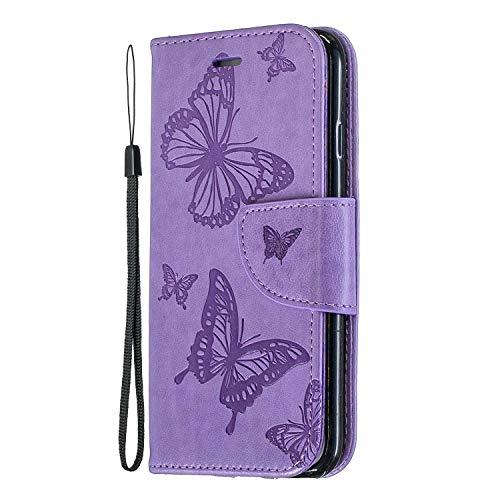 Reevermap Huawei Y6 2019 Hülle Leder Flip Case Tasche Schmetterling Wallet Handyhülle Brieftasche Schutzhülle Handytasche Magnetisch Kartenfach Ständer für Huawei Y6 2019, Lila