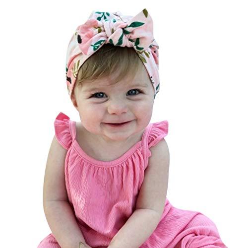 EuCoo Bébé Fille modèle de Point Chapeau Mignon Bandeau élastique Headwraps Oreilles de Lapin Porte-Cheveux Bande nouée Wrap(Rose)