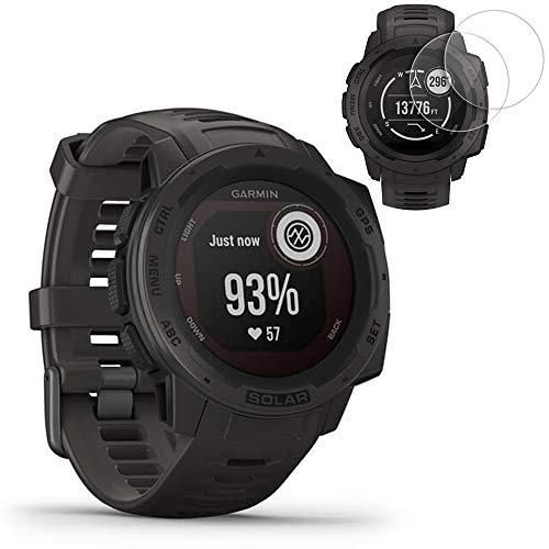 Garmin Instinct Solar GPS Smartwatch - Graphite (010-02293-10) w/ 2X Screen Protectors