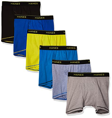Hanes Boys' Cool Comfort Breathable Mesh Boxer Brief 6-Pack, Assorted, X Large