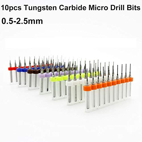 Juego de 10 brocas de 0,5 mm a 2,5 mm de carburo de impresión de la placa de circuito de la placa de microperforación, kit de herramientas rotativas con vástago