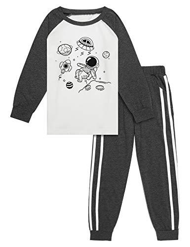 Bricnat Jungen Schlafanzug Set Lang Neuheit Cartoon Sternenhimmel Nachtwäsche Langarm Pyjamas Outfit 140