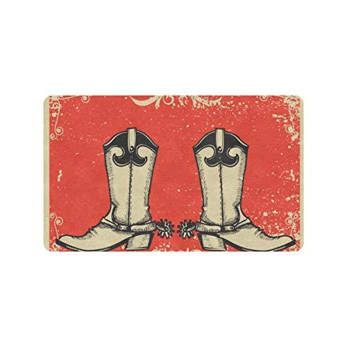 Fancy And Country Style Botas de vaquero 30x18 pulgadas Alfombrilla para puerta delantera Antideslizante para exteriores Entrada por puerta trasera Alfombrilla para suelo interior Alfombrilla lavable