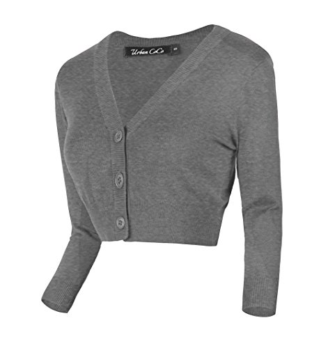 Urban GoCo Damen V-Ausschnitt Kurz-Strickweste Strickjacke (L, Heather Gray)
