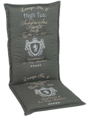 GO-DE 2945-01 Sesselauflage, hoch, circa 120 x 50 x 8 cm, anthrazit uni und Schriftzug mit Wappen